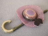 Lea Stein of Paris - Hat and Cane Brooch (Sold)